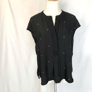 COUNTRY ROAD Black Sleeveless Top, spots, size XS